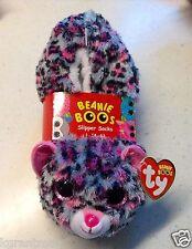 TY BEANIE BOOS NEW Slipper Socks TASHA the Leopard Kids SIZE Medium (1-3)