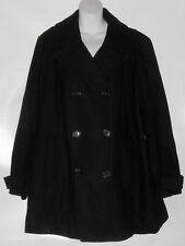 St John's Bay Woman Plus Size Wool Blend Double Breasted Jacket Coat Black 2X