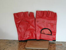 RED LEATHER FINGERLESS GLOVES - SIZE EXTRA LARGE -