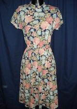 VTG Navy Blue Floral Flowers Roses Sz 3 4 Dress Retro 3/4 Short Sleeve Mock 1Y14