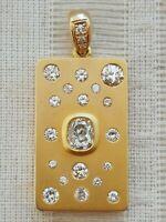 14k Yellow Gold 1.80ctw Diamond Cluster Pendant Hand Made 12g