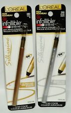 2 L'Oreal Infallible Never Fail Silky Pencil Eyeliner GOLD #280 & SILVER #290