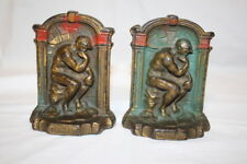 "Pair of 2 Vintage Hand Painted Cast Iron Rodin's The Thinker 5"" Metal Bookends"
