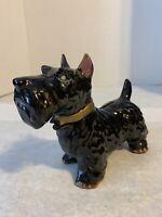 Vintage Scottie Dog Black with Gold Ceramic Bank Japan