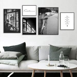 Abstract Wall Art Canvas Poster Black White Nordic Print Skandinavian Decor