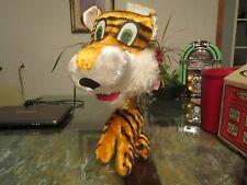Vintage Sitting Stuffed Tiger Plush Animal Carnival R & R Toy Mfg Gold Colar