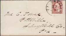 US 3¢ 1857 TYPE 1, 25 ON SMALL COVER FROM WATERVILLE MAINE, LINES SHOW TOP & BTM