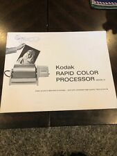 Kodak Rapid Color Processor Model 2 Users Manual Guide