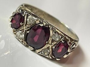 Antique vintage Victorian gold on sterling silver & garnet stone gypsy ring sz M