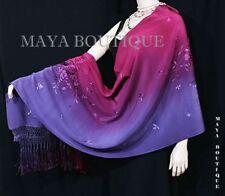 Embroidered Silk Wrap Shawl Scarf Hand Dyed Magenta Purple Maya Matazaro