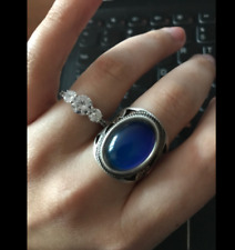 Antique Big Oval Stone Ring Sterling Silver Plated Color Change Mood Deco Size 9