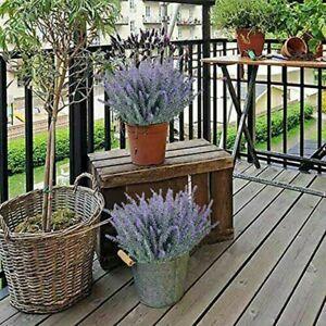 4x Set Künstlich Lavendel Blumen Außen Falsche Pflanzen Kunst Plastik UV 37cm