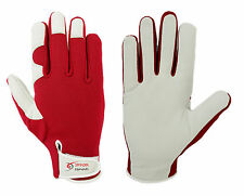 Garden Gardening Gloves Soft Leather Red