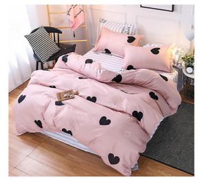 New Heart Pattern Pink Bedding Set Duvet Cover Sheet Pillow Case Four-Piece