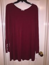 MON AMI Dark Red Tunic With Lace And Button Accents Size Large