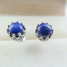 Fine Pure S925 Sterling Silver Natural Lapis Lazuli Women Ball Stud Earrings
