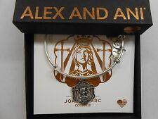 Alex and Ani Joan of Arc Bangle Bracelet Rafaelian Silver With Tag Box Card