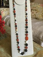 """Lovely! Signed DTR Jay King Agate & Other Stones Long 36"""" Necklace .925 Extender"""