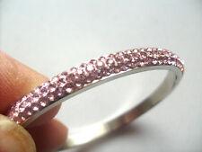 Nuevo Moderno Cromo con incrustaciones en muchas Cristales Rosa 6.5 cm Pulsera Brazalete de Señora.