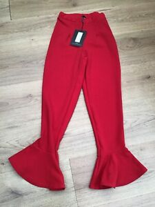 WOMENS RED ELASTICATED WAIST FLARE HEM TROUSERS PRETTYLITTLETHING SIZE 4 BNWT