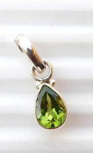 """1.30 Gm 925 Solid Sterling Silver Natural Peridot Cut Stone Pendant 0.70"""" K-1330"""