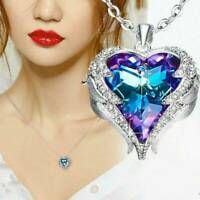 Women 925 Silver Angel Wing Necklace Heart Crystal Chain Pendant Jewelry Gift