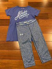 Under Armour Girl's Shirt & Capri Leggings 2 Piece Set Blue Heatgear Sz YSM EUC