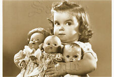 1950's BABY BOOMER ANTIQUE DOLLS GIRL CHILD PHOTO VINTAGE CANVAS ART PRINT Large