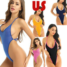 US Women's One Piece Swimsuit High Cut Micro Backless Bodysuit Bathing Suit