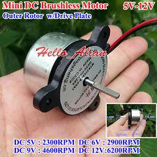 Mini DC Brushless Motor DC 5V 12V 2300-6200RPM External Outer Rotor Driver Board