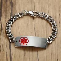 Medical Alert Stainless Steel Bracelet Bangle For Type 1 2 Diabetes Silver US