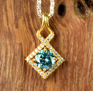 4.58 Ct Blue Diamond Solitaire Halo Gold Finish Certified Pendant