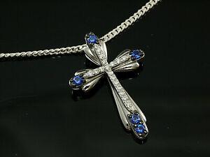925 Silberkette mit kleinem Kreuz Anhänger Größe 21 x 15 mm mit Zirkonia Steinen