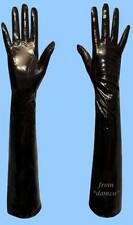 NEW WOMENS size 7 EXTRA LONG BLACK PATENT LAMBSKIN LEATHER SILK LINED GLOVES