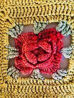"Vintage Hand Crochet Colorful Rosette Lace 21"" X 14"" Doily Vanity Table Accent"