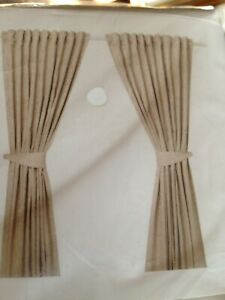 New Ikea LISABRITT Curtains with tie-backs, 1 pair, Beige/Champagne 145x250 cm