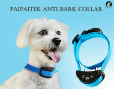 Blue Automatic Shock Paipaitek Dog Anti Bark Collar Rechargeable Adjustable One