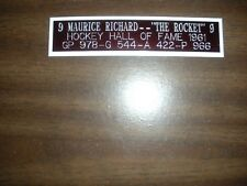 MAURICE RICHARD (CANADIENS) HOF ENGRAVED NAMEPLATE FOR PHOTO/DISPLAY/POSTER