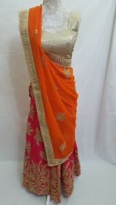Indian Pakistani Bollywood Designer Ethnic Saree, dress Lehenga Choli size 8-10