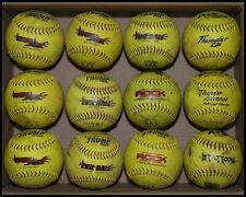 "12 44/375 12"" ASA Slowpitch Softballs – Evil/XL, X-Rock, Tattoo, Thunder – Used"