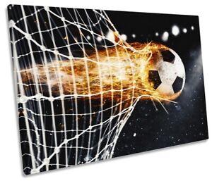 Football Goal Soccer Picture SINGLE CANVAS WALL ART Print Black