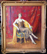 1920 Abraham Anderson Oil Painting Portrait of a Young Woman with Yellow Shawl
