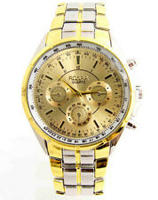 Wrist Watch Luxury Analog Quartz Stainless Steel Gold Dial Men's Fashion Date