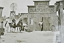 1940 Ghost Town at Knotts Berry Place Buena Park Ca RPPC Cowboy Blacksmith VTG