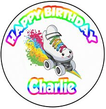 """Personalised Retro Roller Skate Skating Birthday 8"""" Icing Cake Topper Decoration"""