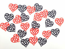 24 Edible Large Red/Black Hearts Pre Cut Wafer Cupcake Toppers