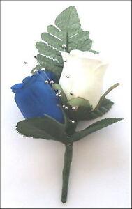 ROSE BUTTON HOLES BLUE & IVORY + SPRAY + FREE DIAMANTIE PIN