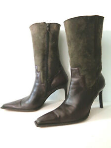 DONALD J PLINER 8.5M Brown Suede Lamb & Smooth Leather Mid-Calf Stiletto Boots