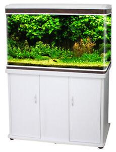 BIOPRO Aquarium Fish (WHITE) Tank + Cabinet Optn 52L Glass LED Pump/Filter C500L