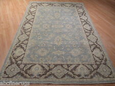 6x9 Muted Museum All-Over-Pattern Veggie Dye Hand-made-knotted Wool Rug 582478